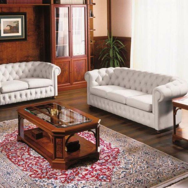 Мягкая мебель Честер из натуральной кожи для кабинета директора