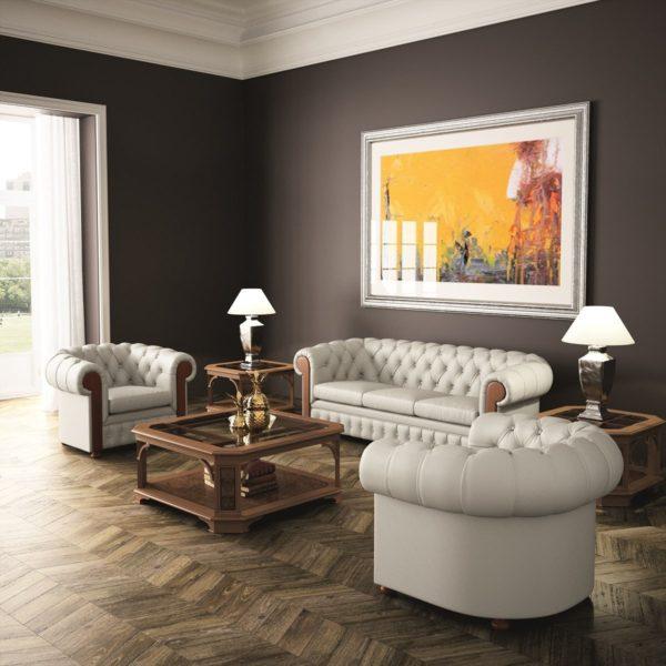 Мягкая мебель Честер для гостиной из натуральной кожи