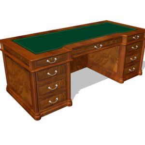 Стол руководителя с 9 ящиками 01122, столешница инкрустация кожей