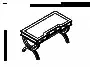 Стол с изогнутыми ногами с 3 ящиками 01136, шпон