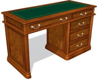 01123 Стол секретаря с 5 ящиками, кожа