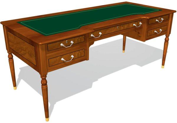Стол руководителя с 5 ящиками 01125, столешница инкрустация кожей