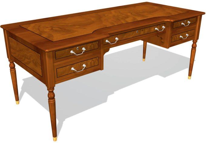Стол руководителя с 5 ящиками 01125, столешница шпон